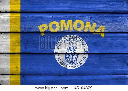 Flag Of Pomona, California, Usa, Painted On Old Wood Plank Background