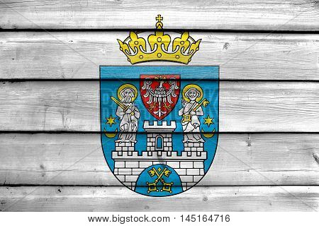 Flag Of Poznan, Poland, Painted On Old Wood Plank Background