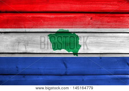 Flag Of Presidente Kennedy, Espirito Santo State, Brazil, Painted On Old Wood Plank Background