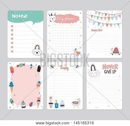 Cute Daily Planner Template for 2016. Note Paper Set with Vector Funny Animals Illustrations. Good for Kids. Summer Season Holidays Backgrounds. Organizer and Schedule with place for Notes