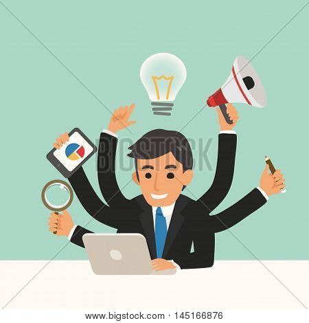 businessman with multitasking skills vector cartoon illustration