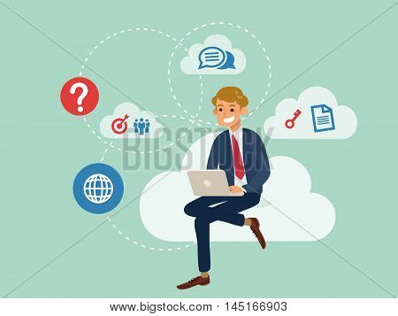 young business man using a laptop sitting on a cloud with cloud computing technology concept cartoon illustration