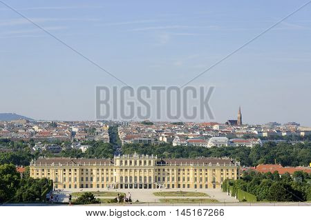 Schonbrunn Palace - summer residence of Austro-hungarian emperors. View from Glorietta