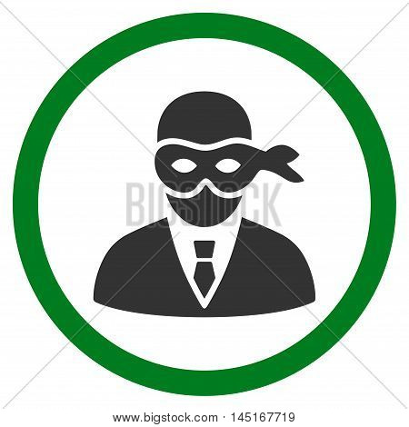 Masked Thief vector bicolor rounded icon. Image style is a flat icon symbol inside a circle, green and gray colors, white background.