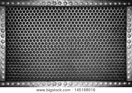metal mesh seamless pattern background with metal rivets frame