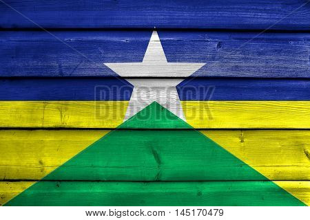Flag Of Rondonia State, Brazil, Painted On Old Wood Plank Background