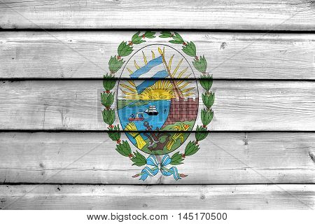 Flag Of Rosario, Santa Fe, Argentina, Painted On Old Wood Plank Background