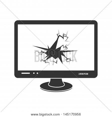 icon broken screen pc isolated vector illustration esp 10