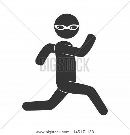 silhouette man criminal thief stealing isolated vector illustration eps 10