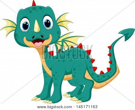 Vector illustration of cute dragon cartoon isolated on white background