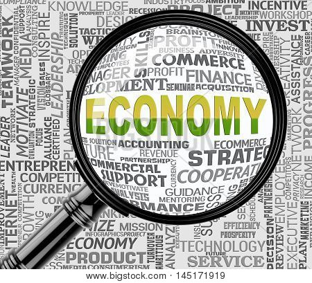 Economy Magnifier Shows Macro Economics 3D Rendering