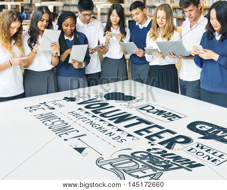 Highschool Students Technology Volunteering Concept