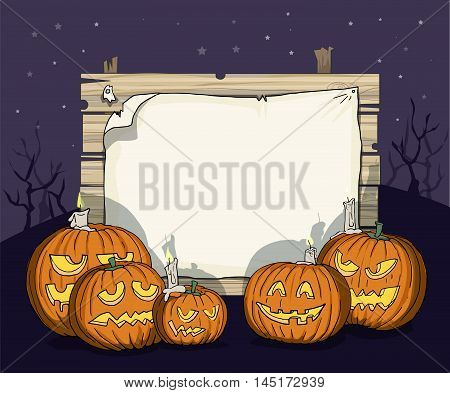 Happy Halloween, various carved pumpkins, with a night sky background, and blank space for text, creepy shadows, vector illustration