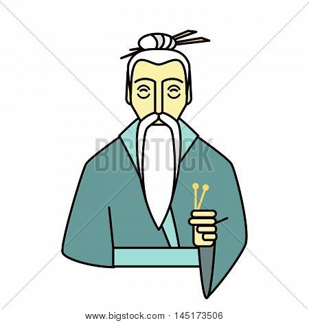 Acupuncturist holds needles. Vector personage isolated on white.