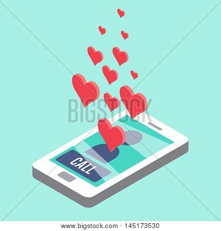 Sweetheart call. Isometric smartphone with call notification on display and heart symbols.  Vector illustration.