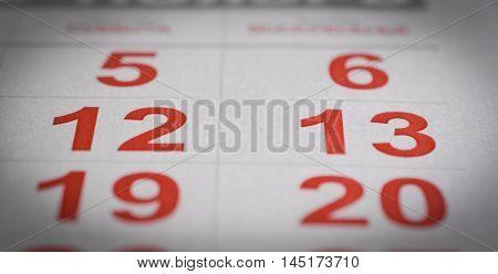 red calendar twelve, thirteen number holiday rest