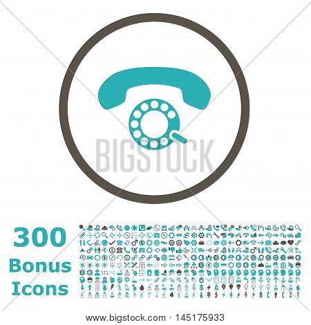 Pulse Dialing rounded icon with 300 bonus icons. Vector illustration style is flat iconic bicolor symbols, grey and cyan colors, white background.
