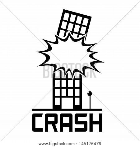 Crash Building Logo. Explosion in a building. Isolated on white background EPS8