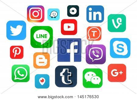Kiev Ukraine - July 11 2016: Collection of popular social media logos printed on paper: Facebook Twitter Google Plus Instagram LinkedIn Pinterest Vine Youtube and others