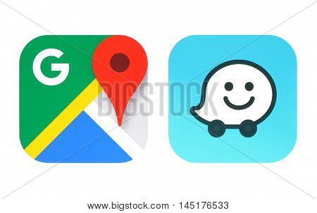 Kiev Ukraine - June 25 2016: Collection of popular navigation icons printed on paper: Google Maps and Waze