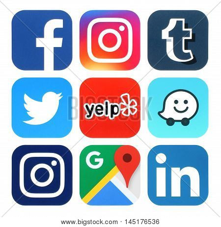Kiev Ukraine - July 25 2016: Collection of popular social media travel and navigation logos printed on paper:Facebook Twitter Instagram Yelp Google Maps Waze Tumblr and Linkedin