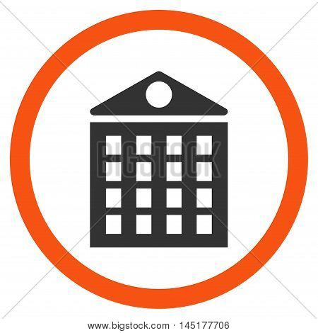 Multi-Storey House vector bicolor rounded icon. Image style is a flat icon symbol inside a circle, orange and gray colors, white background.