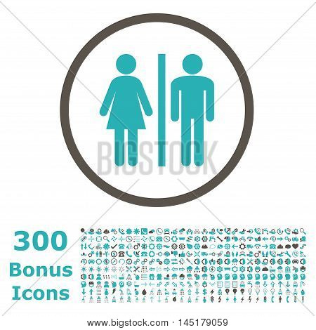 WC Persons rounded icon with 300 bonus icons. Vector illustration style is flat iconic bicolor symbols, grey and cyan colors, white background.