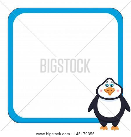 School background with cheerful cute penguin, funny frame and birdie, vector illustration
