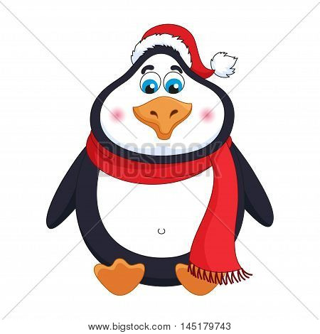 New Years cheerful cute penguin in winter red hat and scarf sits, fat birdie has a rest, funny character, vector illustration
