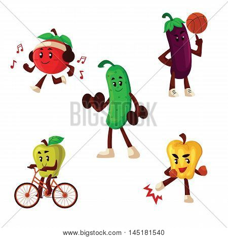 Fruits and vegetables doing sport exercises, cartoon style vector illustration isolated on white background. Healthy lifestyle habits development concept