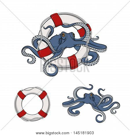 Set of color images of octopus in the lifeline. Isolated vector objects on white.