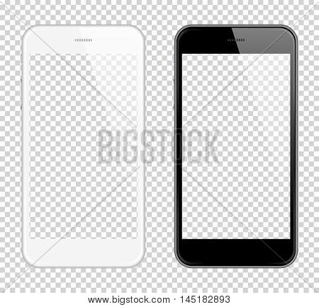 Realistic smart phone Vector Mock Up. Fully Resizeable. Easy way to place image into screen Smartphone, for web design showcase, product, presentations, advertising in modern style. Smartphone