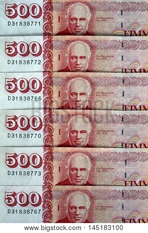 Iceland Krona Banknotes arranged as a Background