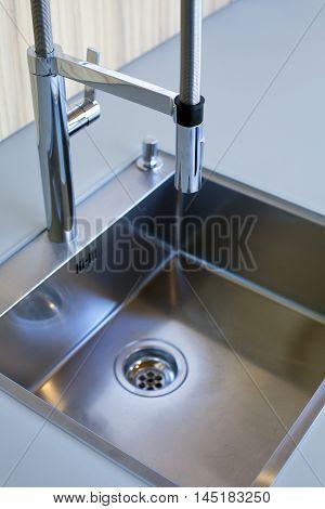 modern stylish stainless grey steel kitchen sink