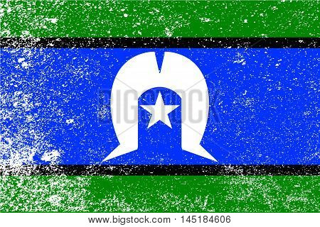 The flag of the Australian Torres Strait Islander with grunge