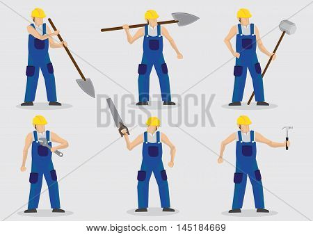 Set of six vector illustration of manual worker wearing blue overall and yellow helmet and holding different tools isolated on plain background.