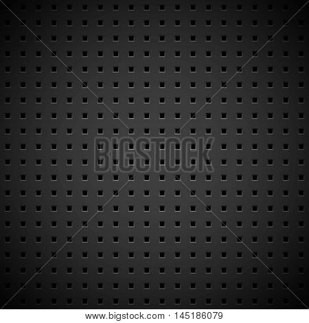 Black abstract technology background with seamless square perforated speaker grill texture for web, user interfaces, UI, applications, apps, business presentations and prints. Vector illustration.