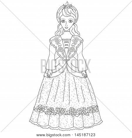 Vector illustration of princess in ancient dress 19 of a century, cute lady noblewoman, coloring book page for children