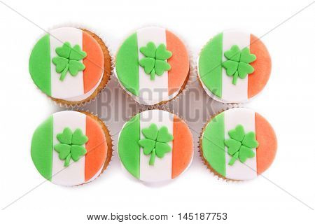 Tasty cupcakes, isolated on white. Saint Patrics Day concept