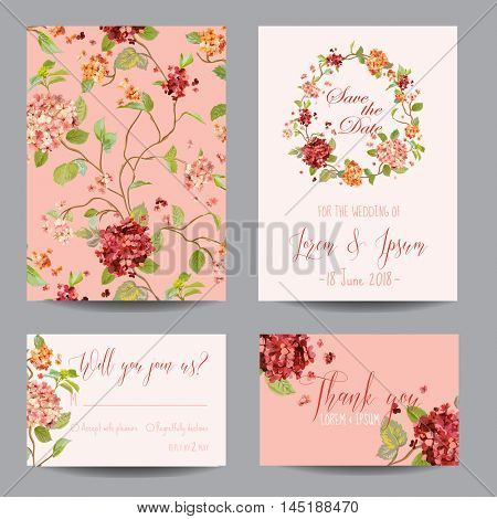 Save the Date Card - Vintage Hortensia Flowers - for Wedding, Invitation, Party - in vector