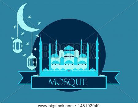 Eid Al Adha, Blue Mosque, Minaret, Lantern And Moon, Muslim Holiday Lights On A White Background. Ve