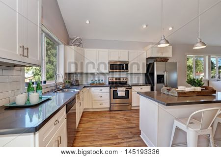 Interior Of Kitchen Room With High Vaulted Ceiling.