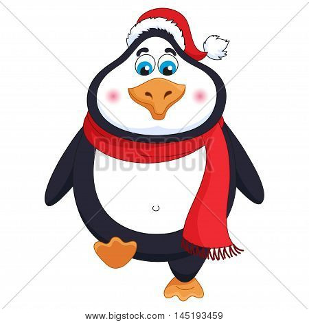 New Year's cheerful cute penguin in winter red hat and scarf walks, fat birdie takes step, funny character raises paw, vector illustration