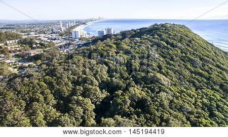 Aerial view close up, looking over Burleigh Headland National Park. Gold Coast, Australia