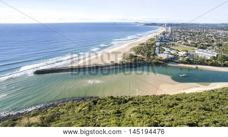 Aerial view of Tallebudgera beach, and surrounds, view from Burleigh Headland. Gold Coast, Australia