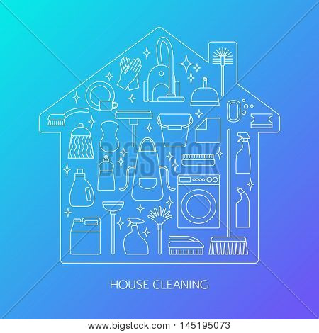 Vector trendy flat cleaning icon set. Includes vacuum cleaner, protective gloves, plunger, spray bottle, wipe, squeegee, sponge, bucket, mop, brush, duster and many more.
