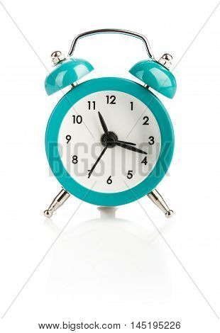 Alarm clock blue colour isolated on white background
