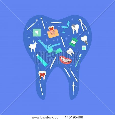 Vector dental care concept, template, poster. Dental chair, mouthwash, toothpaste, dentist tools, tooth shape.