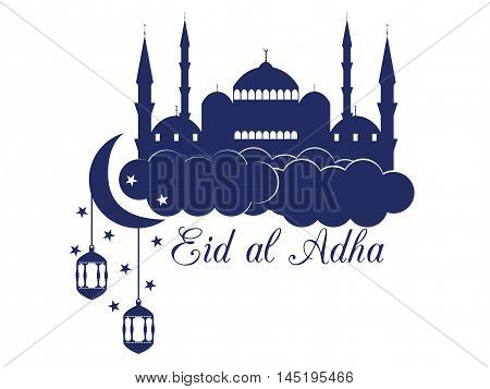 Eid Al Adha. Mosque In The Clouds On White Background. Blue Mosque, Minaret, Lantern And Moon. Vecto