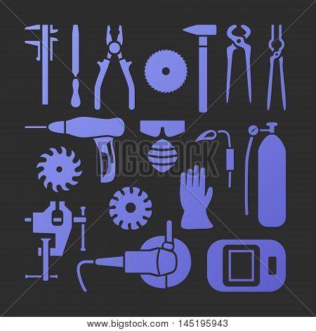 Vector metalworking trendy flat icons big set.